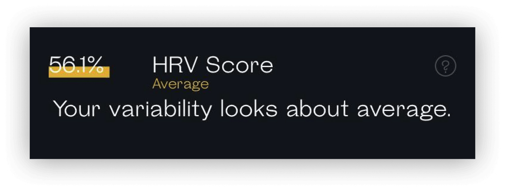 snapshot HRV Score readout showing average result