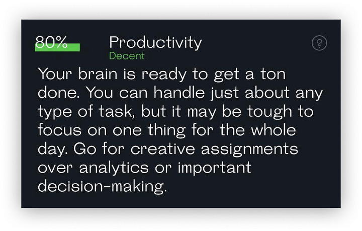 snapshot readout showing high productivity score and suggestion to opt for creative tasks