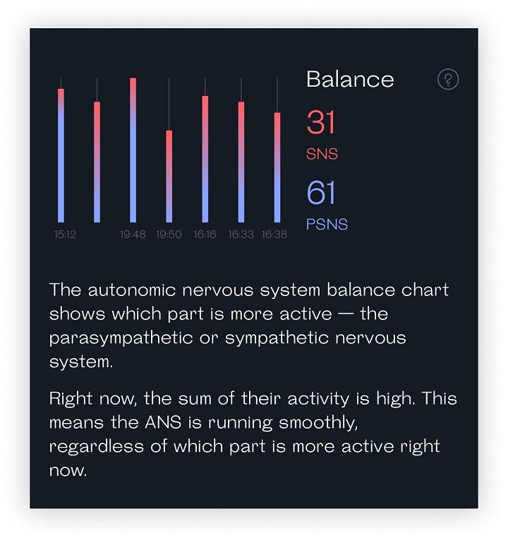 snapshot readout of the autonomic nervous system balance chart